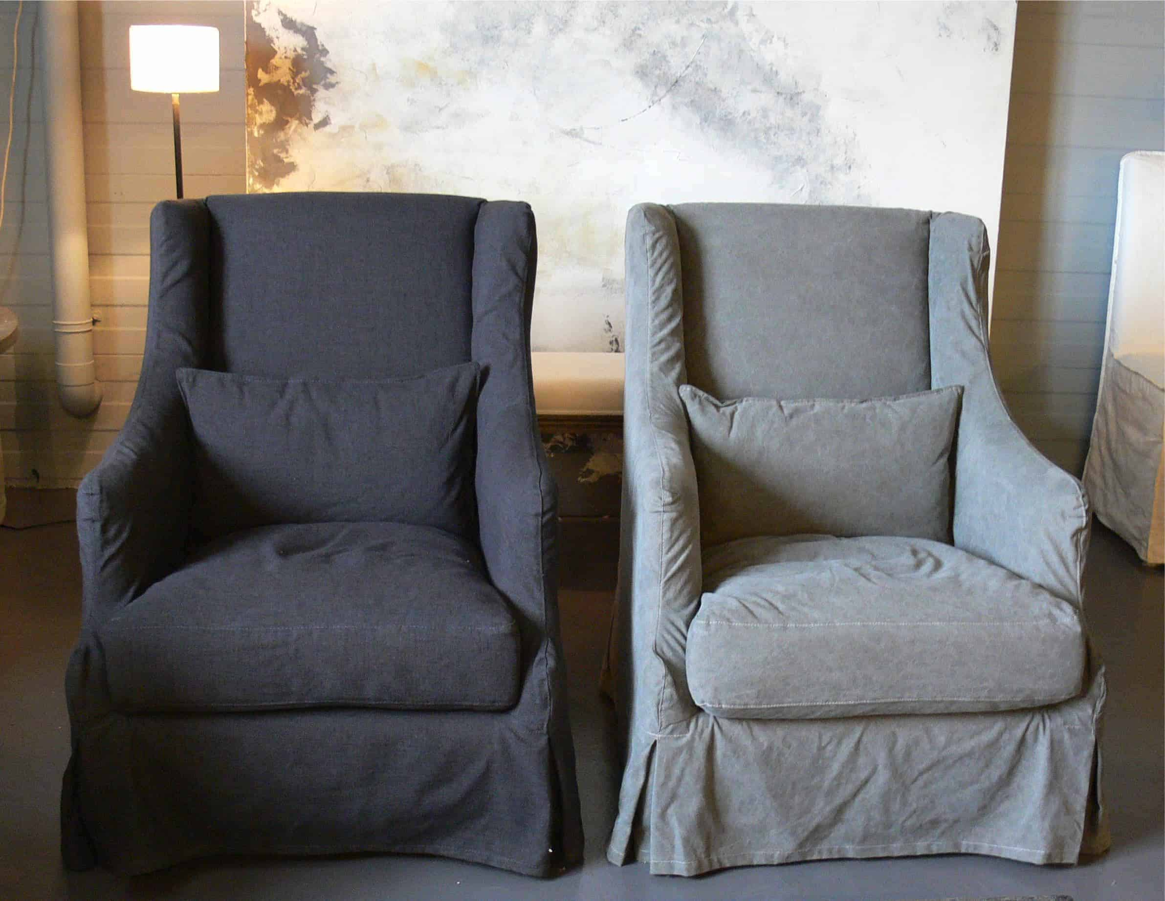 Prachtige sober model fauteuil met losse stonewashed linnen hoes