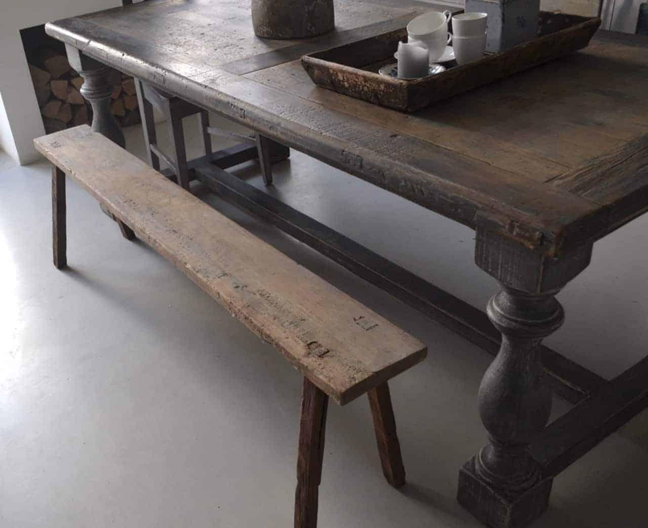 Oud Elmwood vergrijsd eetkamer tafel