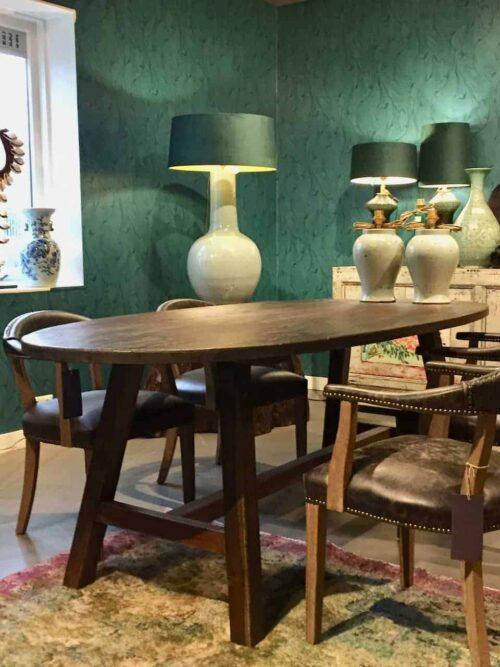 ovale tafel oud hout