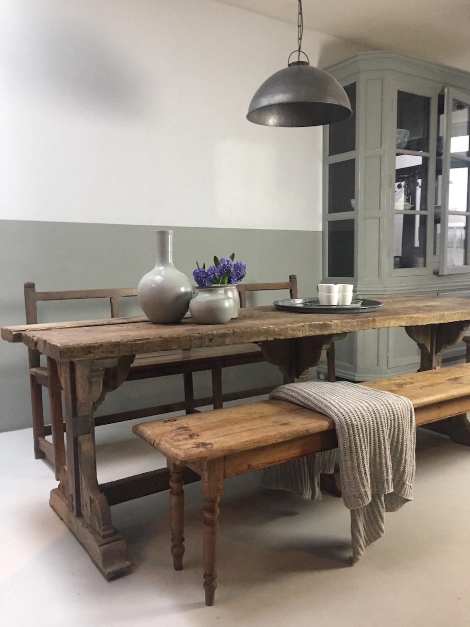 oud houten bank eettafel bank oud